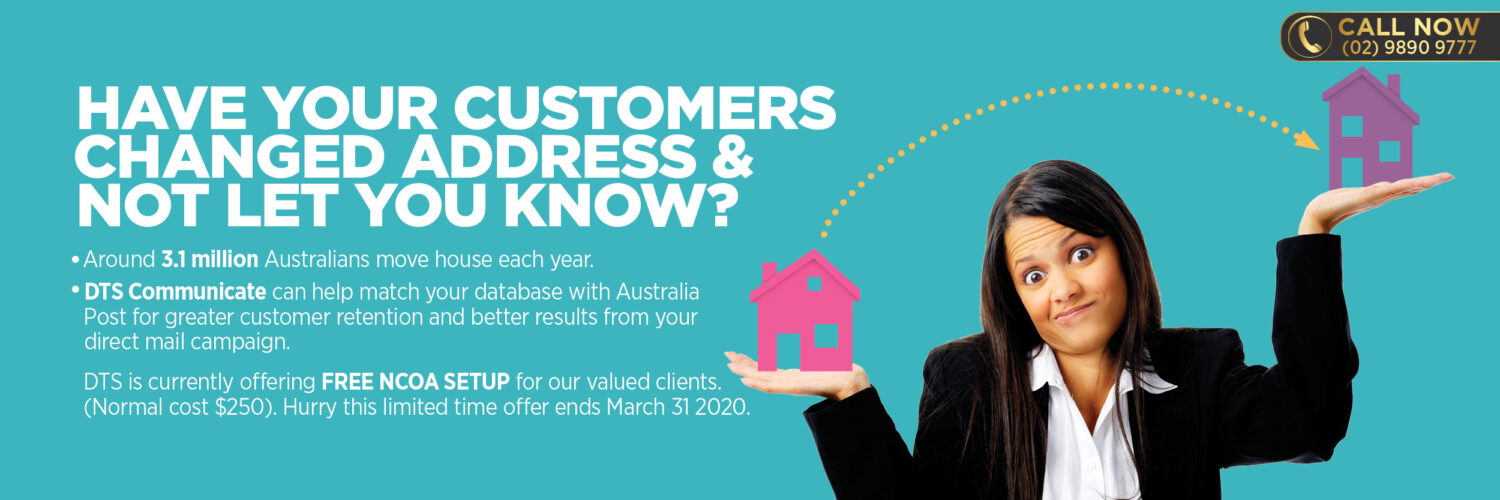 NCOA Australia Post promotion Direct Mail Web Banner Data Services DTS Communicate